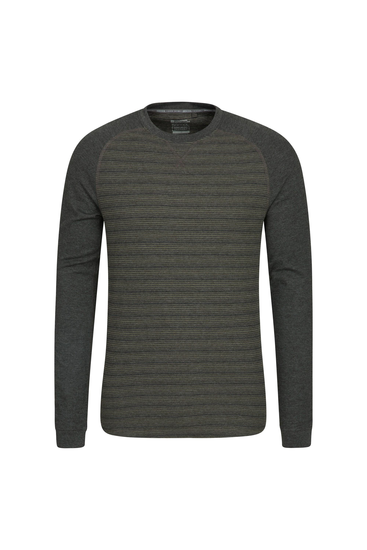 Waffle Mens Long Sleeve Stripe T-Shirt - Green