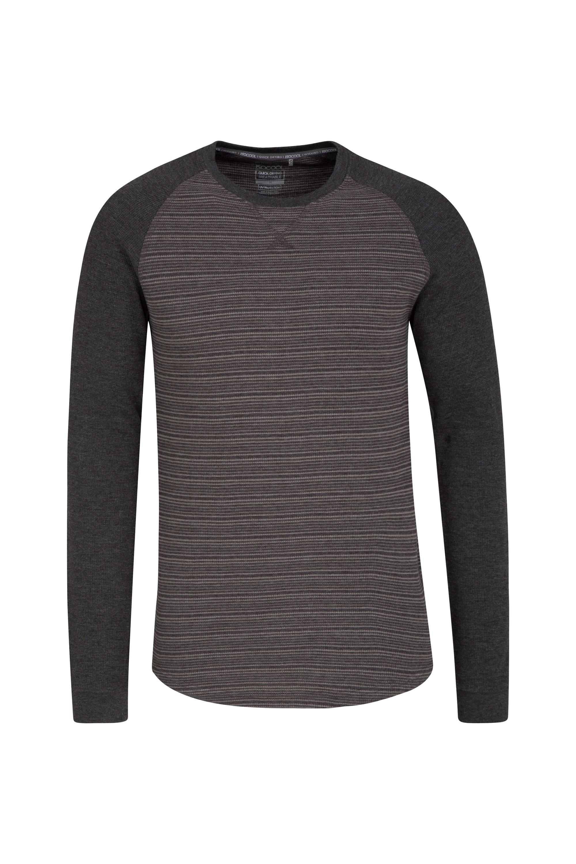 Waffle Mens Long Sleeve Stripe T-Shirt - Grey