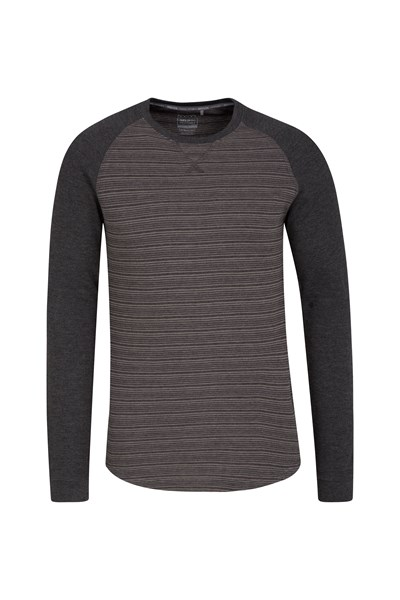 Waffle Mens Long Sleeve Stripe T-Shirt - Grey