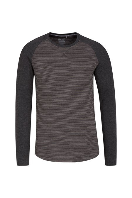 Waffle mens long sleeve stripe t shirt mountain warehouse us for Mens striped long sleeve t shirt