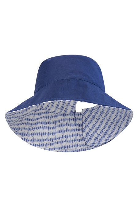 Reversible Womens Printed Bucket Hat - Two Tone Blue 940a51fc7d9