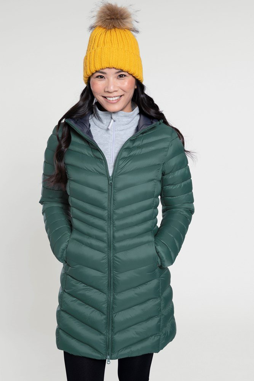Florence - długa kurtka pikowana damska - Green