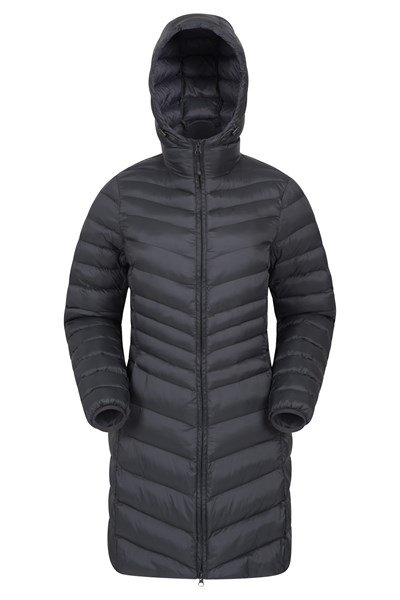 Florence Womens Long Padded Jacket - Charcoal