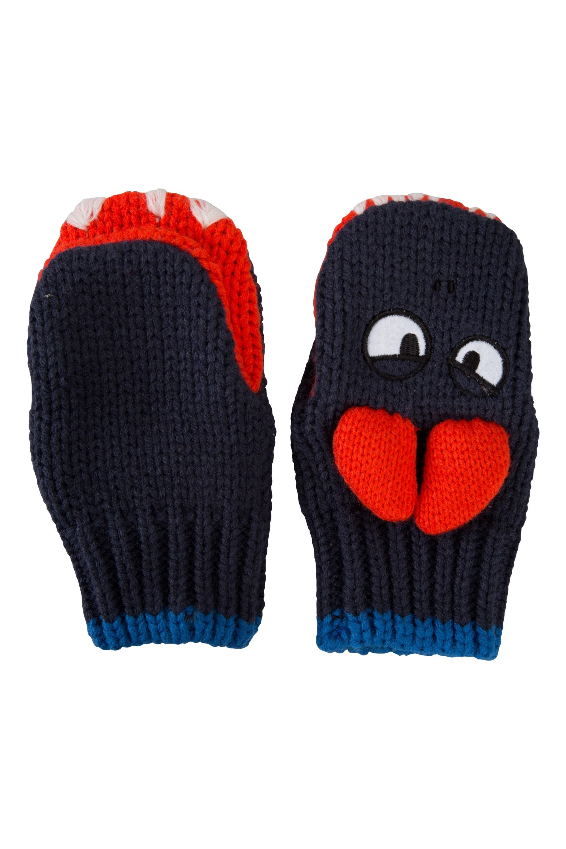 Dragon Kids Knitted Gloves - Navy