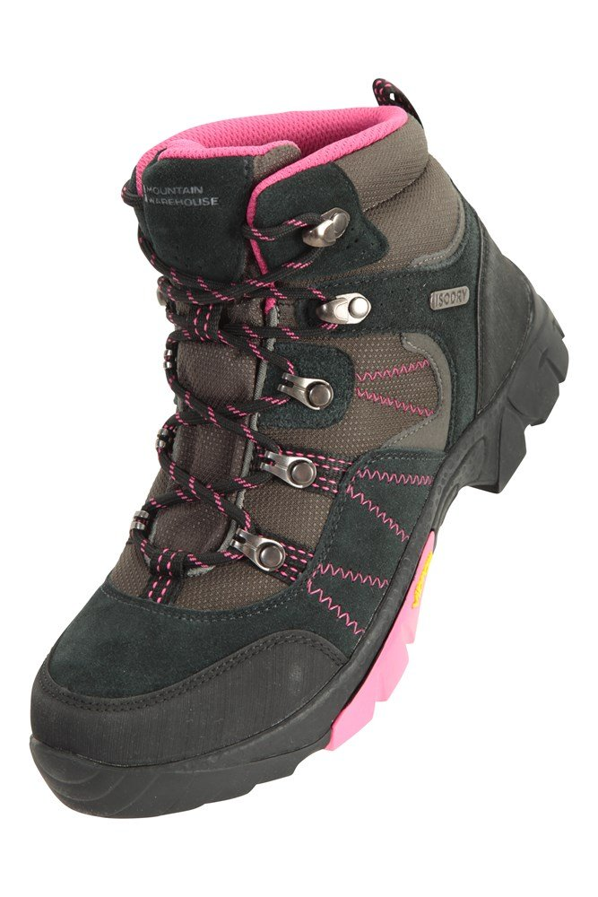 for Running Mountain Warehouse Canyon Kids Waterproof Boots Leather Upper Vibram Outsole All Season Shoes Breathable Childrens Walking Shoes Waterproof Rain Boots
