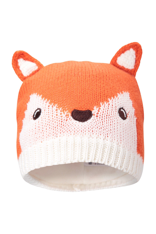 Fox Knitted Kids Hat - White