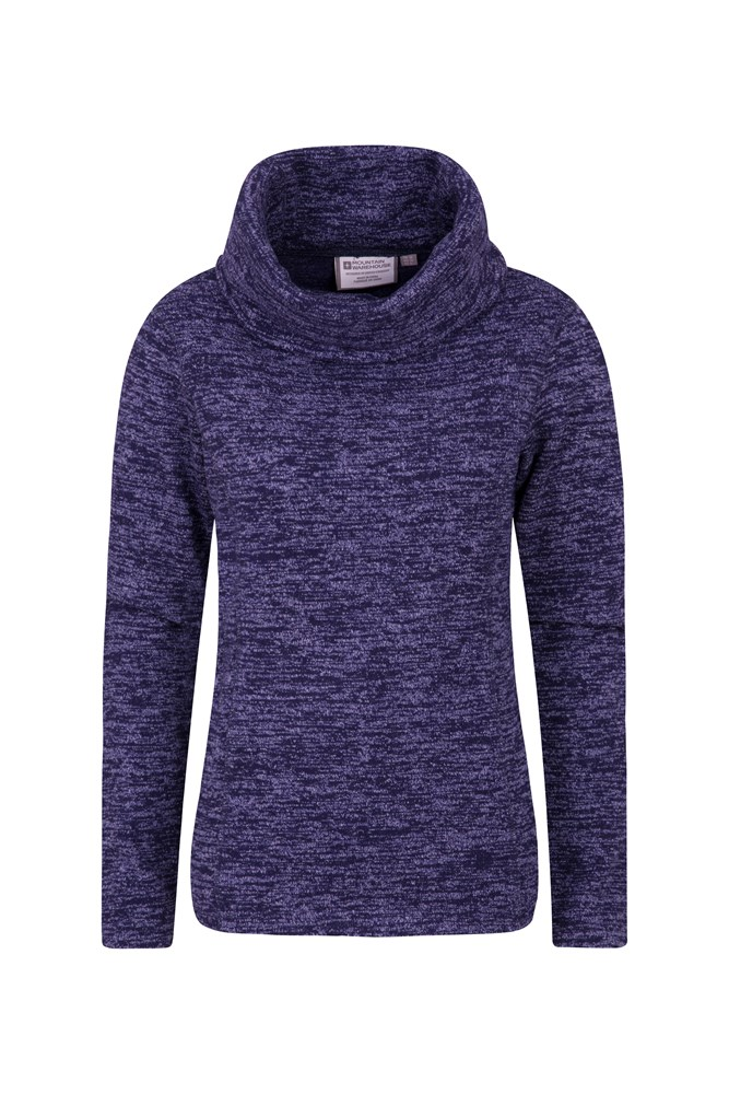 Idris Womens Cowl Neck Fleece - Navy