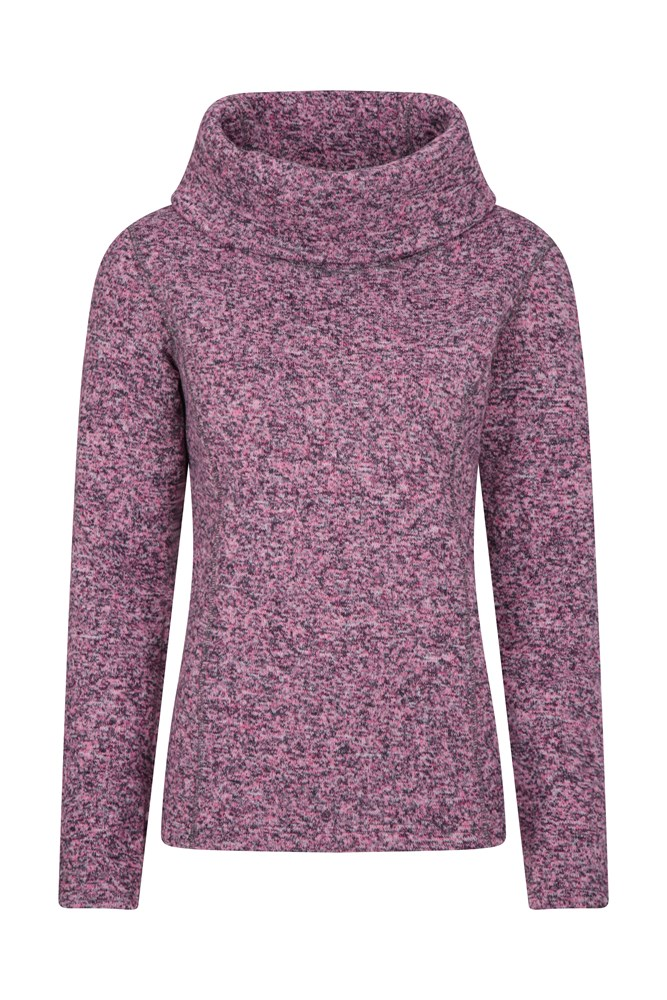 Idris Womens Cowl Neck Fleece - Pink