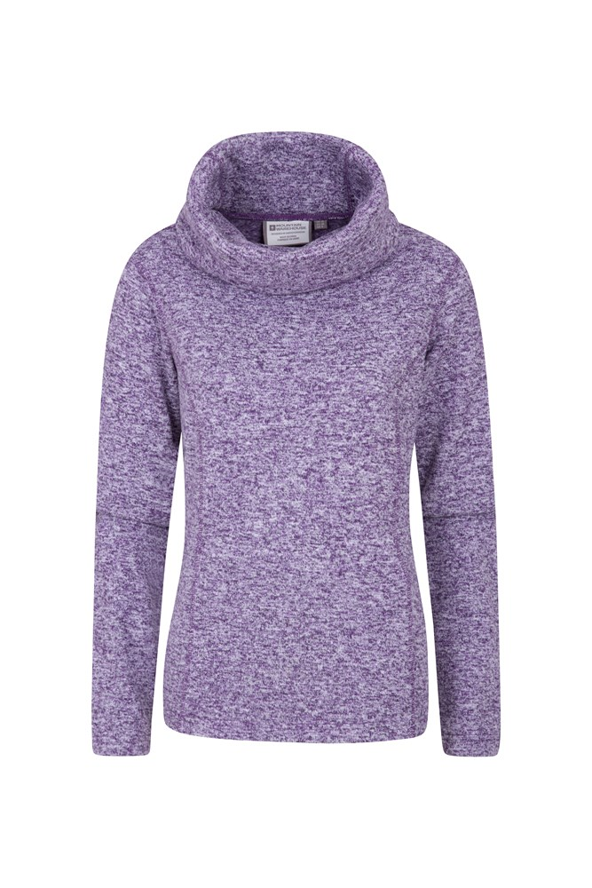 Idris Womens Cowl Neck Fleece - Purple
