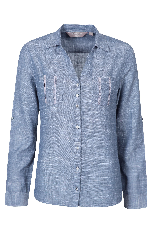 Georgie Womens Long Sleeved Shirt - Blue
