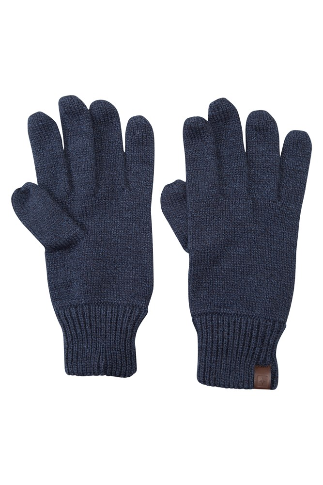 Compass Knitted Mens Gloves - Navy