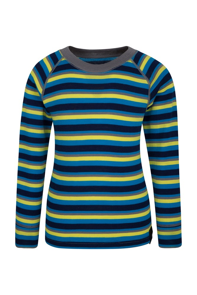 Merino Kids Stripe Round Neck Top - Blue