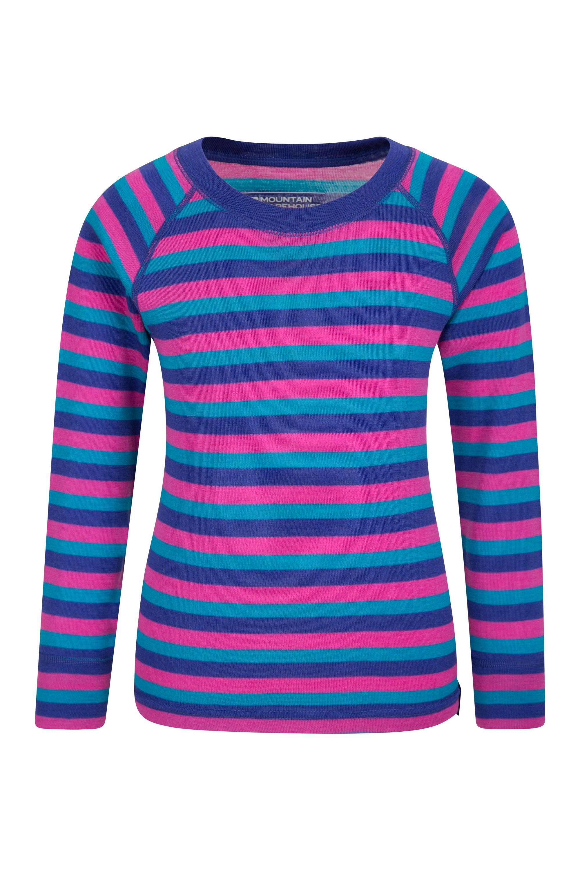 Merino Kids Stripe Round Neck Top - Pink