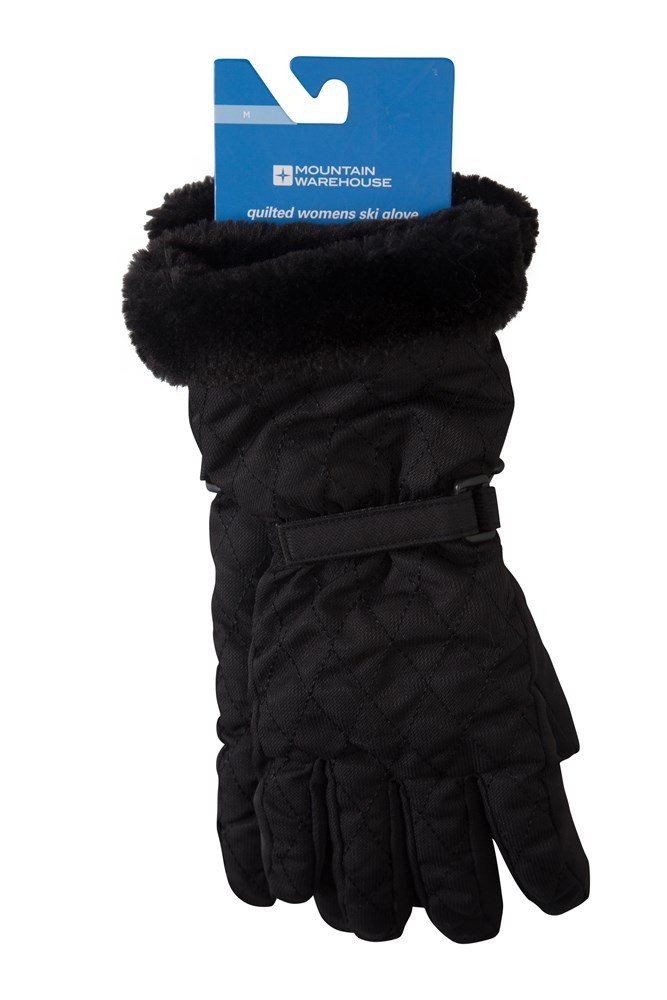 Quilted Womens Ski Gloves - Black