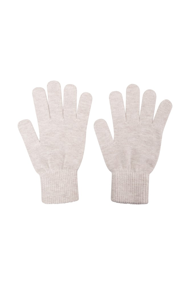 Womens Everyday Knitted Gloves - Beige