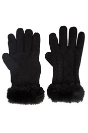 Faux Fur Touch Screen Womens Gloves