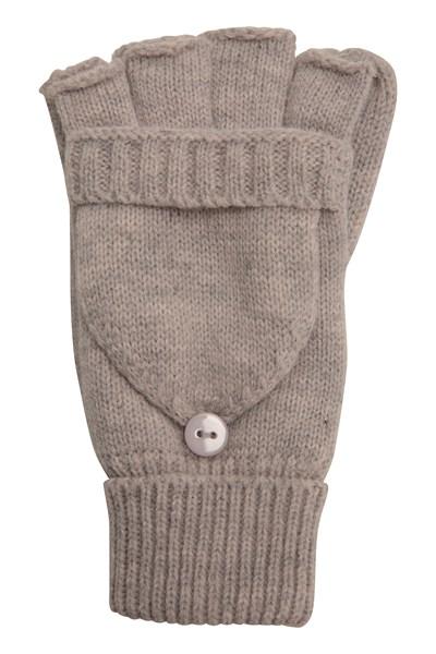 Fingerless Knitted Womens Mitten - Beige