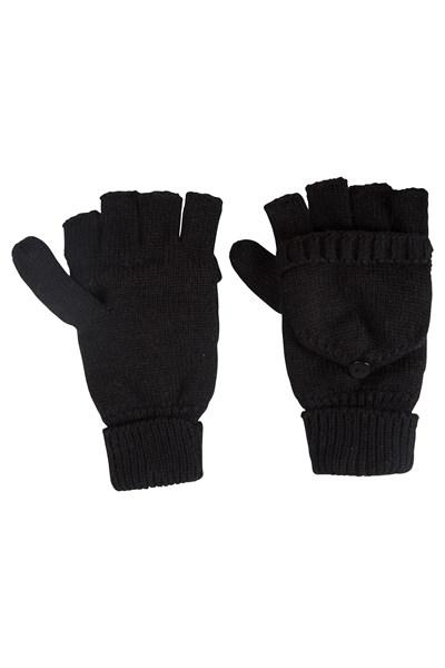 Fingerless Knitted Womens Mitten - Black