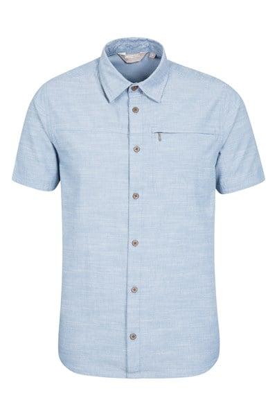 Coconut Textured Mens Short Sleeved Shirt - Blue