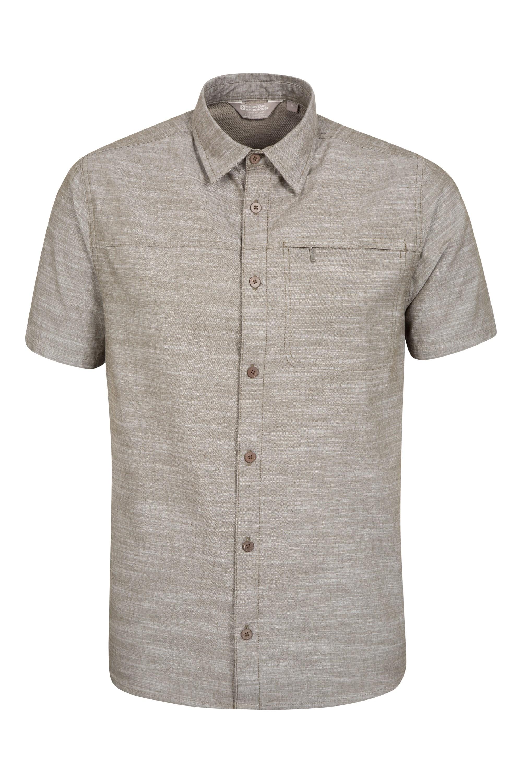 Coconut Textured Mens Short Sleeved Shirt - Green