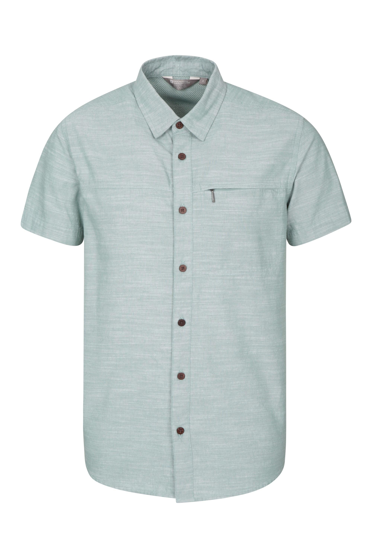 Coconut Textured Mens Short Sleeved Shirt - Teal