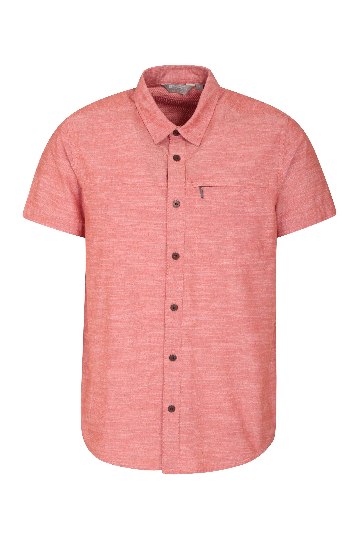 Coconut Textured Mens Short Sleeved Shirt - Orange