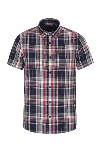 Holiday Mens Cotton Shirt - Dark Red