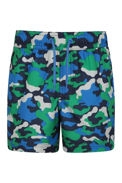 Patterned Kids Boardshorts - Green