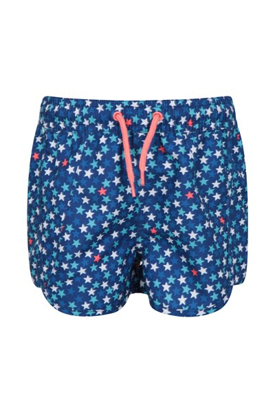Patterned Kids Boardshorts - Blue