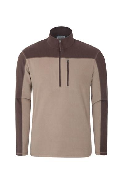 Argyle Mens Half Zip Fleece - Beige
