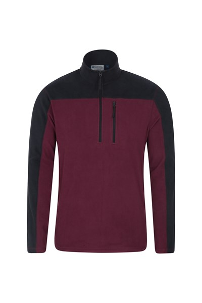 Argyle Mens Half Zip Fleece - Dark Red