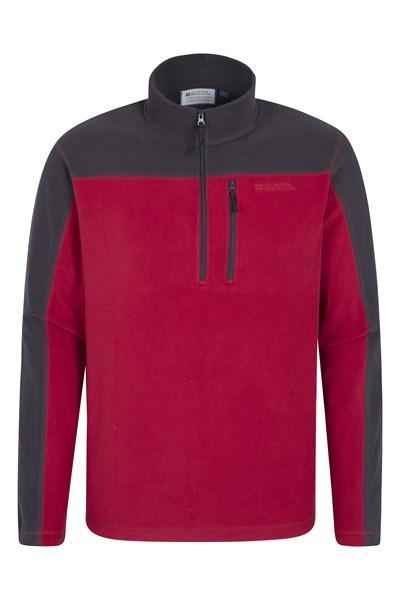 Argyle Mens Half Zip Fleece - Red
