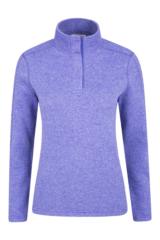 Idris Button Neck Womens Fleece - Blue