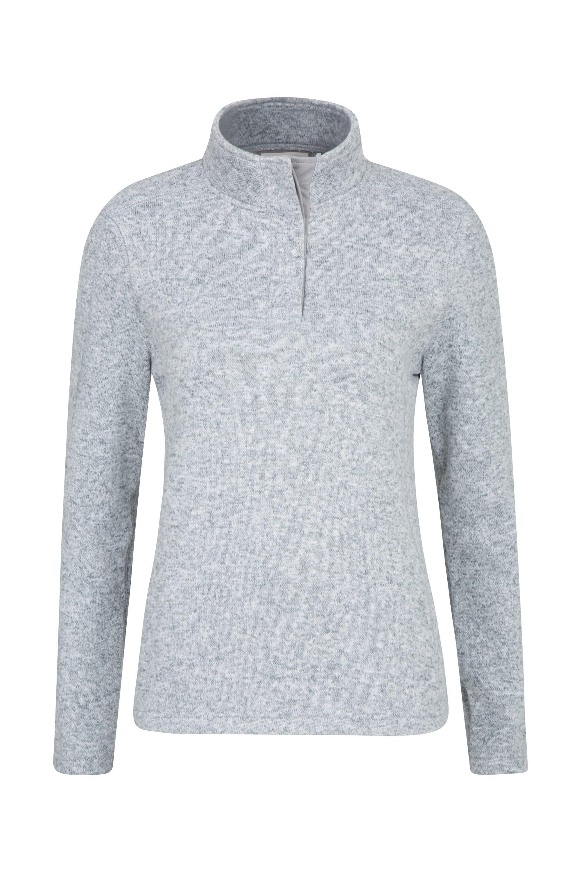 Idris Button Neck Womens Fleece - Grey