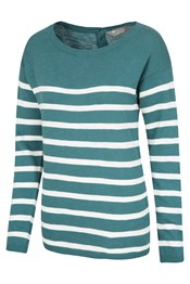 Striped Button Back Womens Knit Top