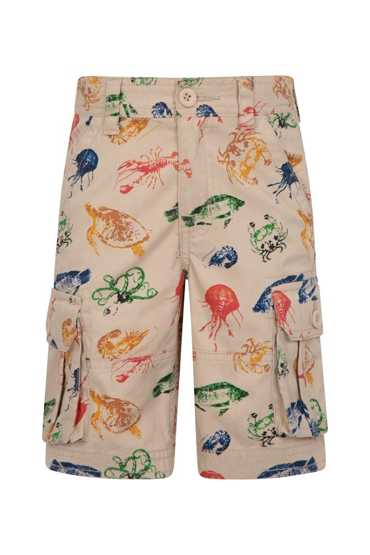 Printed Kids Cargo Shorts - Beige