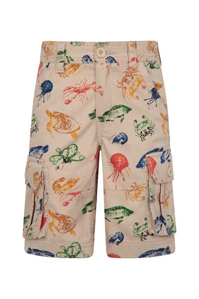 Printed Kids Cargo Shorts - Beige