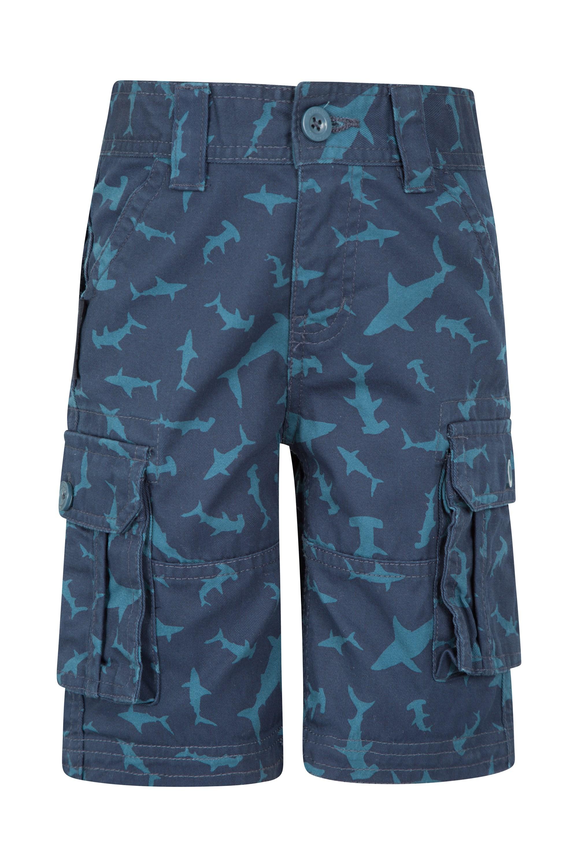 Printed Kids Cargo Shorts - Blue