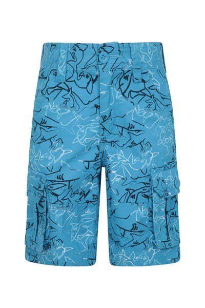Printed Kids Cargo Shorts - Blue