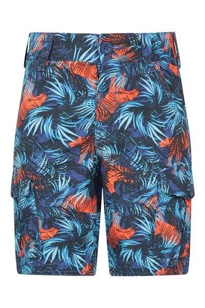 Printed Kids Cargo Shorts - Dark Blue