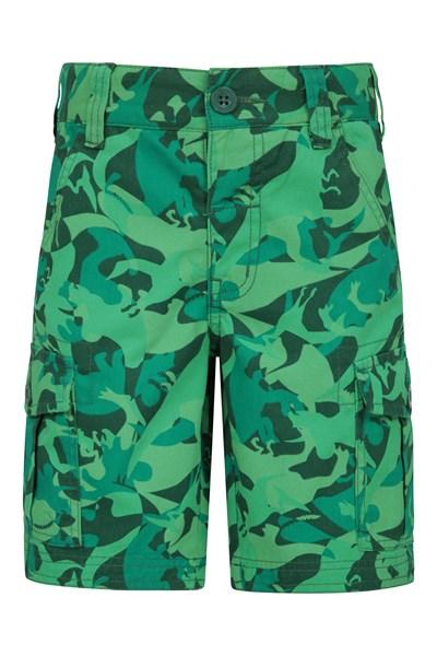 Printed Kids Cargo Shorts - Green