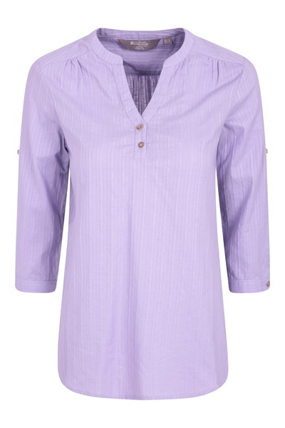 Petra Womens Relaxed Fit 3/4 Sleeve Shirt - Purple