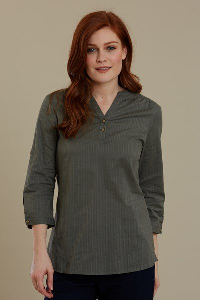 Petra Womens Relaxed Fit 3/4 Sleeve Shirt - Green