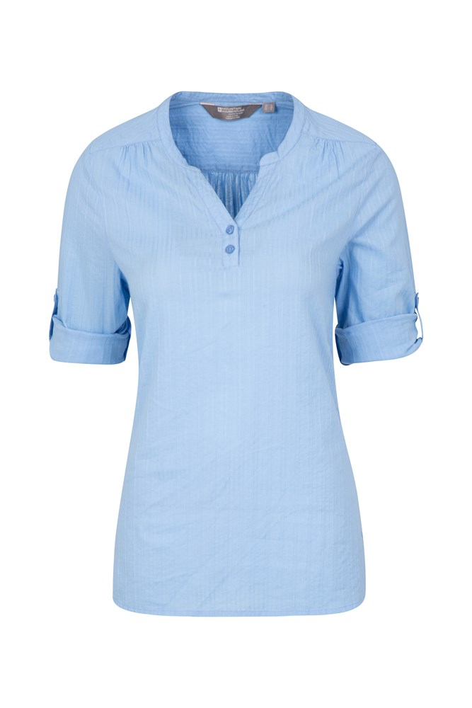 Petra Womens Relaxed Fit 3/4 Sleeve Shirt - Blue