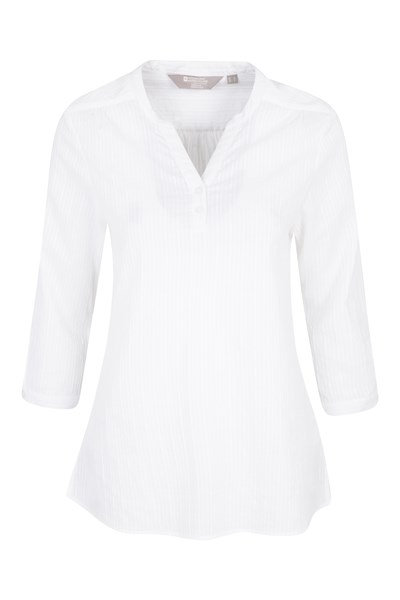 Petra Womens Relaxed Fit 3/4 Sleeve Shirt - White