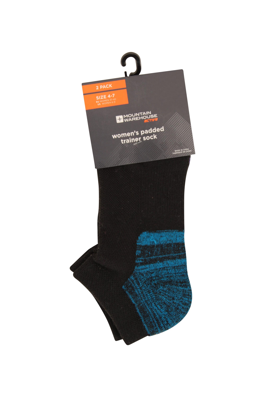 Isocool Womens Padded Trainer Socks 2pk - Black