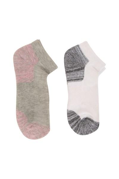 Isocool Womens Padded Trainer Socks 2pk - White