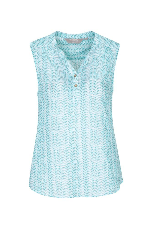Petra Womens Printed Sleeveless Shirt - Green