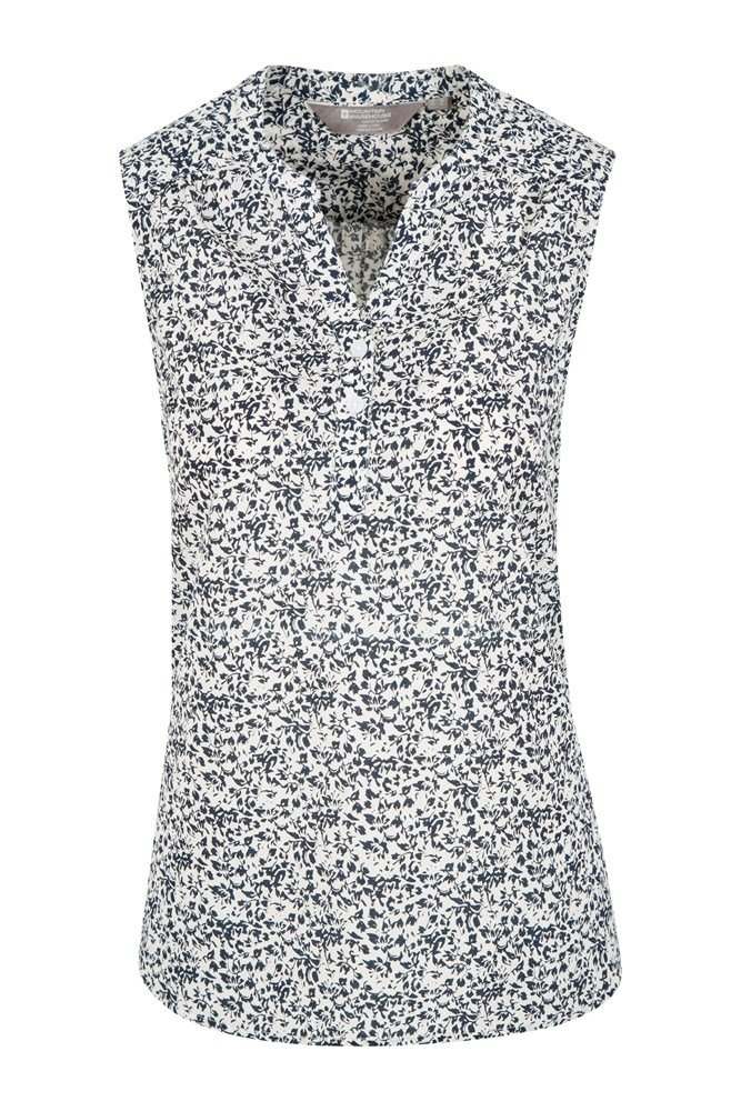 cf7c1bfa85d Petra Womens Printed Sleeveless Shirt - Navy