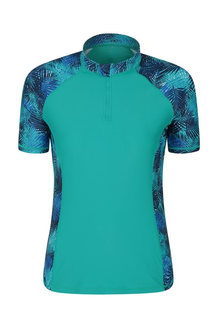 025090 WOMENS UV ZIP SS RASH VEST